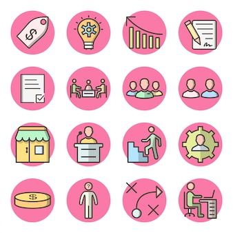 Set of 16 business icons on white vector isolated elements
