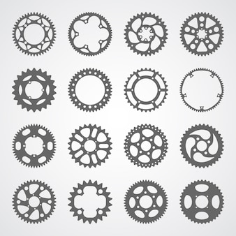 Set of 16 isolated gears and cogs