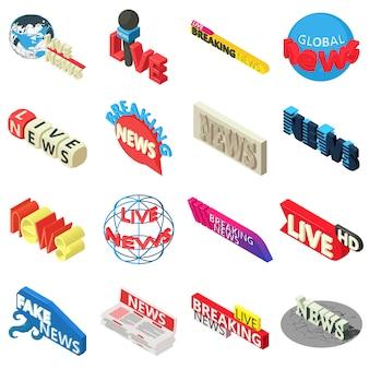 Новости живут ломать ярлык иконы set. изометрическая иллюстрация 16 новостей live breaking label векторные иконки для веб