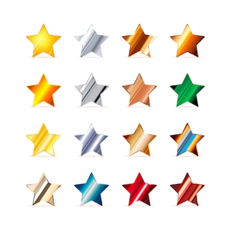 Set of 16 stars made of different metals isolated