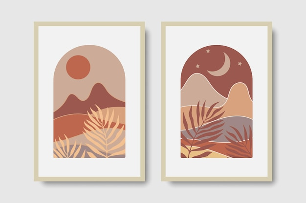 Set 2 abstract mid century concept wall art prints