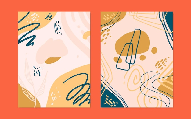 Set of 2 abstract organic shape cover in vector style