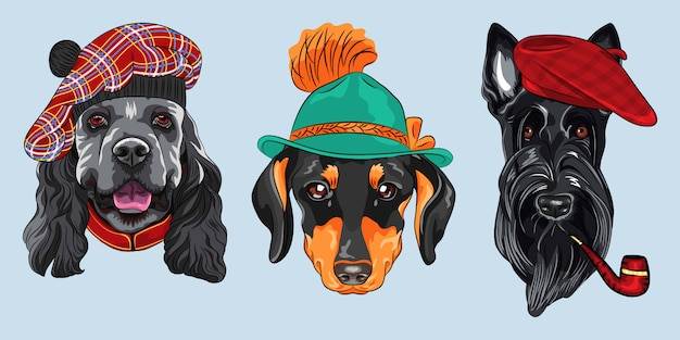 Set 2 cartoon hipster dogs