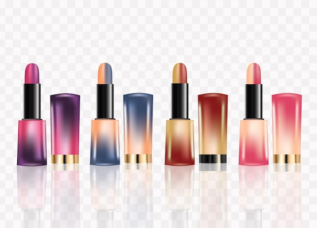 Set of 2 color lipstick .isolated on  background 3d realistic vector illustration.