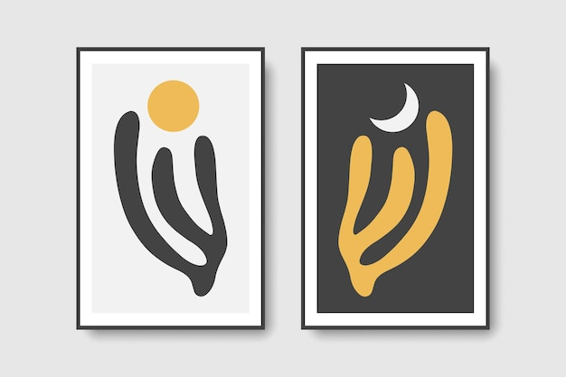 Set 2 matisse mid century day and night wall art prints