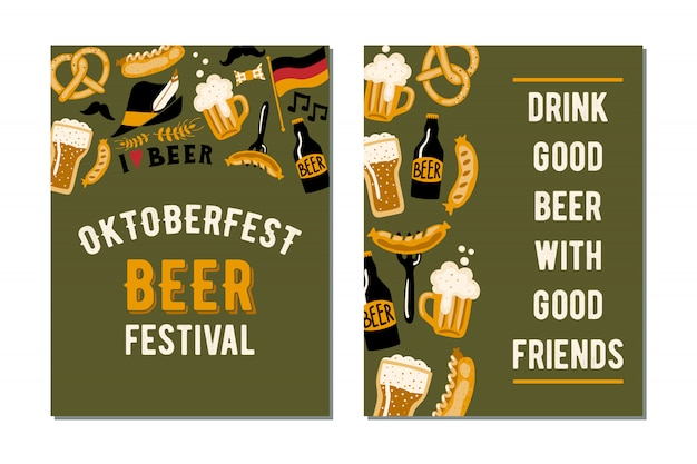 Set of 2 posters for the craft beer festival oktoberfest.