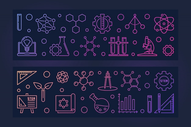 Set of 2 stem education vector colored linear banners