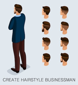 Set 2 trendy isometric 3d businessman