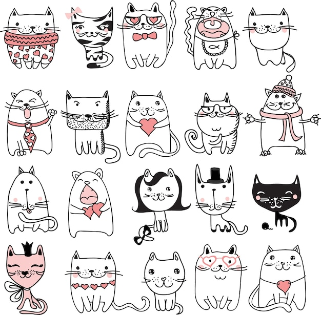 Set of 20 doodle cute and funny cats avatars