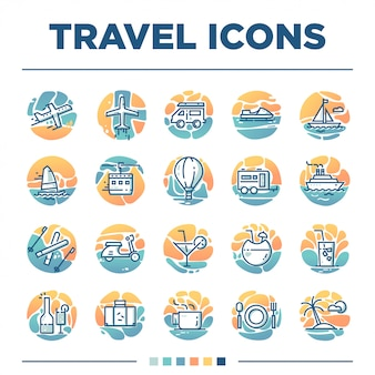 Set of 20 travel icons with unique style