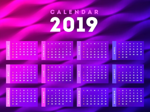 Set of 2019 monthly calendar design.