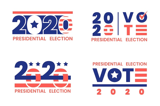 Set of 2020 presidential election in usa logos