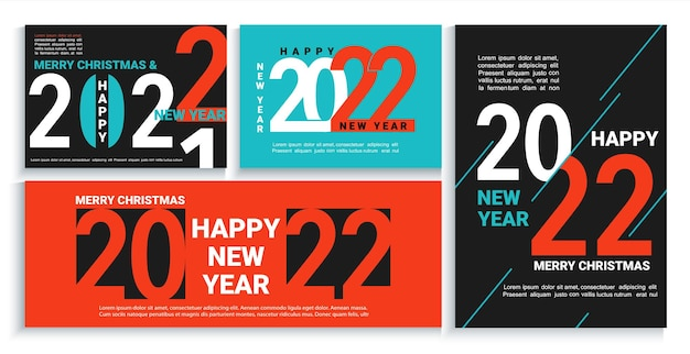 Установите 2022 новогодние баннеры, листовки, открытки, плакаты в черном, красном, синем цвете. современные брошюры, приглашения и поздравительные открытки, листовки, заголовки, бизнес-дневники, обложка календаря с числами на 22 года. вектор