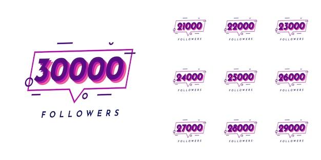 Set 21000 to 30000 followers design