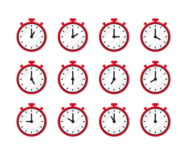 Set of 24 hours time in vintage red clock style