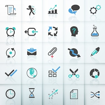 Set of 25 modern business icons
