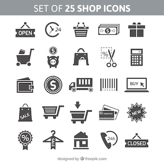 Set of 25 shop icons