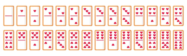 Set of 28 domino bones cookies with hearts for valentine's day. vector flat icon design isolated on white background.