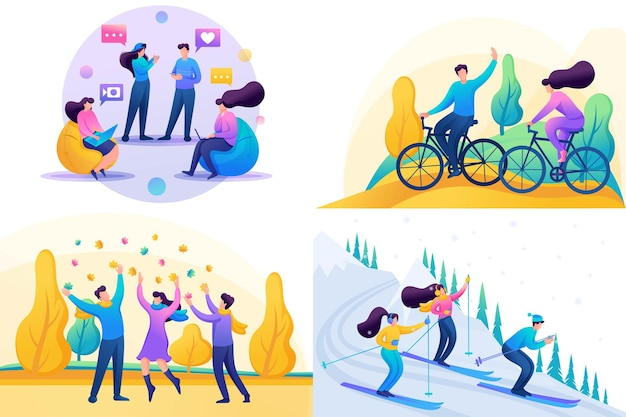 Set 2d flat concepts, young people have fun and rejoice, friendship