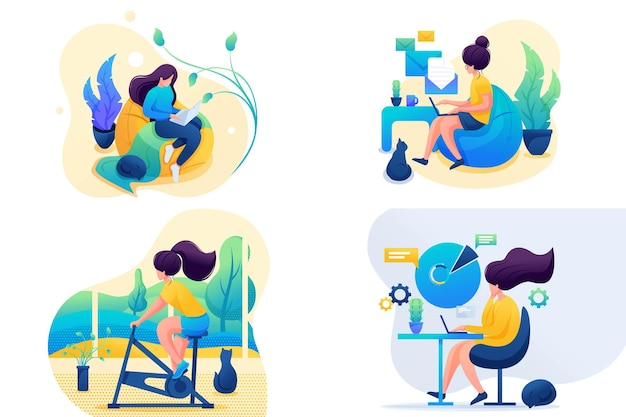 Set 2d flat on the topic of women's self-isolation, work at home, sports. for concept for web design.