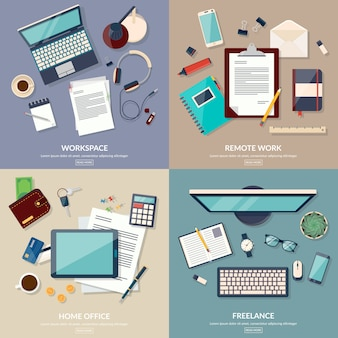 Set of 2x2 banners of home workspace. flat design vector illustration