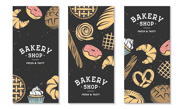 Set of 3 bakery flyers or brochure typography advertising design bakery shop