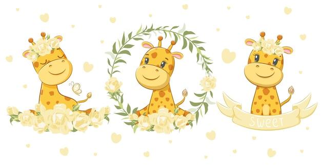 A set of 3 cute and sweet giraffes. vector illustration of a cartoon.