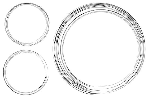 요소 디자인을 위해 여러 black thic 시장에서 3개의 손 그리기 스케치 원 프레임 설정