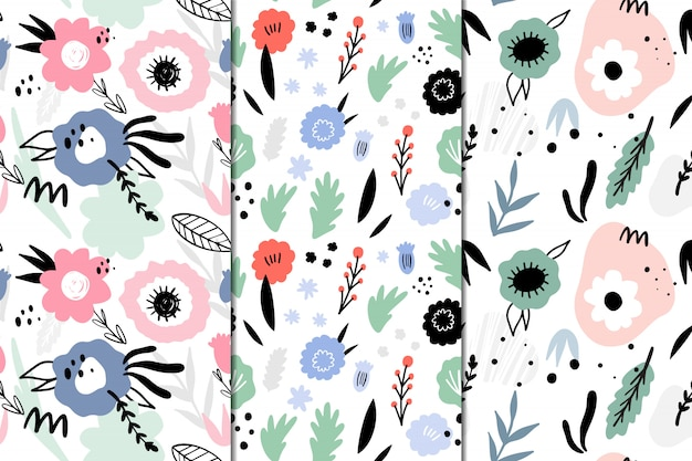 Set of 3 seamless patterns with abstract flowers. hand drawn, doodle style.
