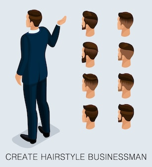 Set 3 trendy isometric 3d businessman