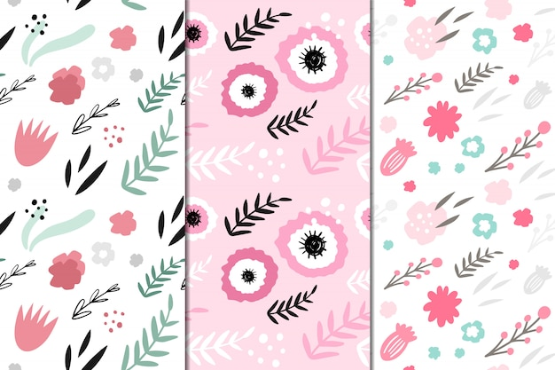 Set of 3 vector seamless patterns with abstract flowers. hand drawn, doodle style.