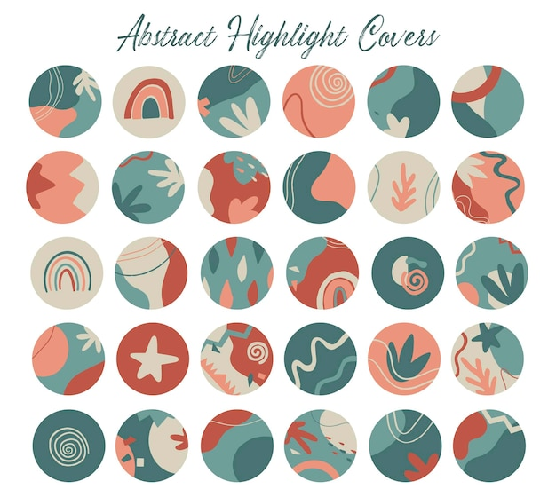 Set of 30 abstract highlight covers