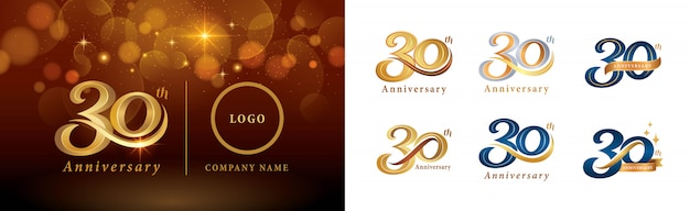 Set of 30th anniversary logotype design, thirty years celebrating anniversary logo
