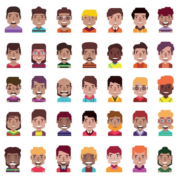 Set of 35 avatar icons