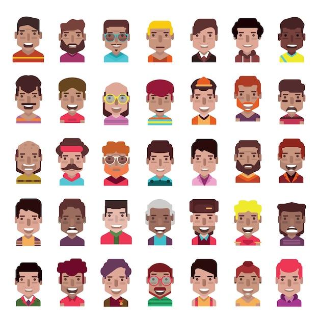 Set of 35 avatar icons