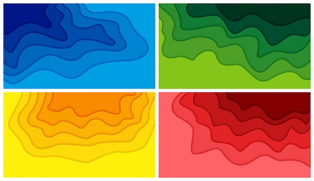 Set of 3d abstract background and paper cut shapes