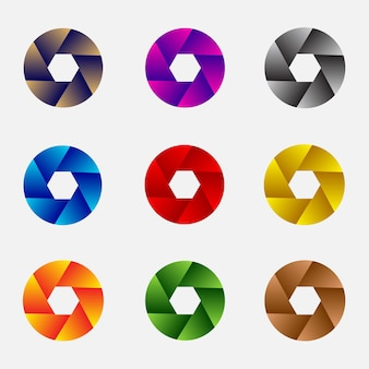 Set of 3d abstract lens and circles vector illustration
