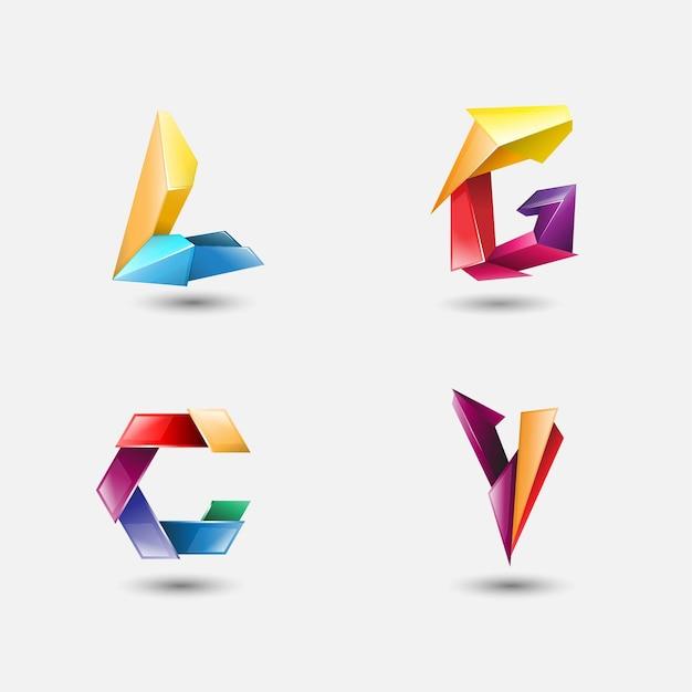 Set of 3d alfabet logo vector illustration