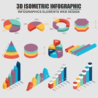 Set of 3d business isometric infographics. can be used for workflow process, business pyra