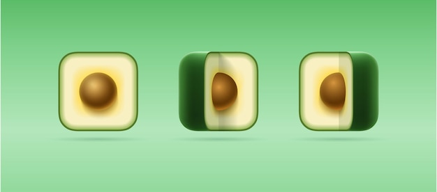 Set of 3d cartoon isolated icons of square cut avocado