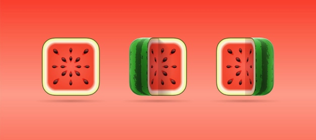 Set of 3d cartoon isolated icons of square cut watermelon on red background