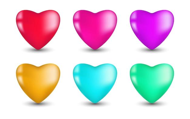 Set of 3d colourful hearts illustration