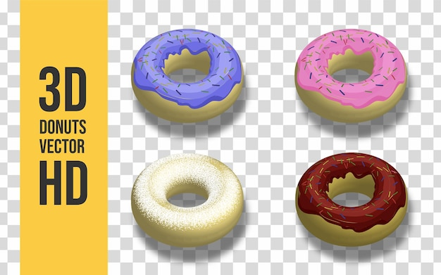 Set of 3d donuts modern style