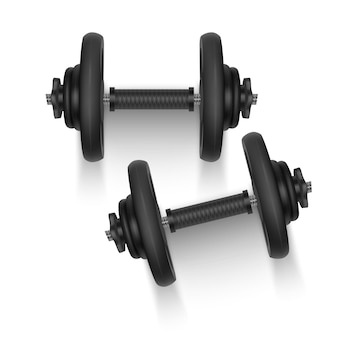 Set of 3d dumbbells, realistic detailed top view isolated on white.
