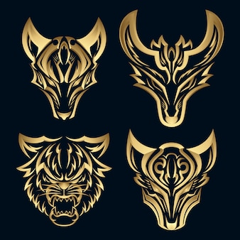 Set 3d elegant gold fox design logotype. premium luxury pictorial mark logo.