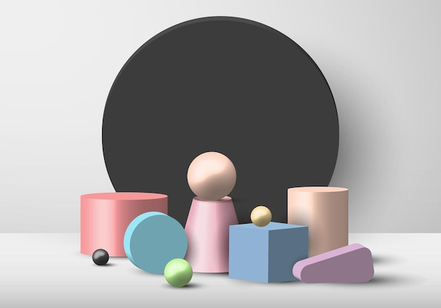 Set of 3d geometric object pastel color display circle