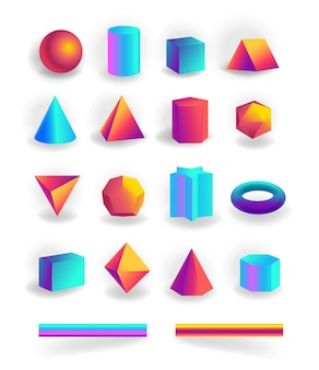 Set of 3d geometric shapes and editable strokes with holographic gradient isolated on white background, figures, polygon primitives, maths and geometry