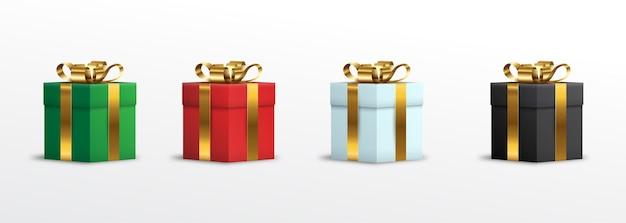 Set 3d gift box wrapped gold ribbon