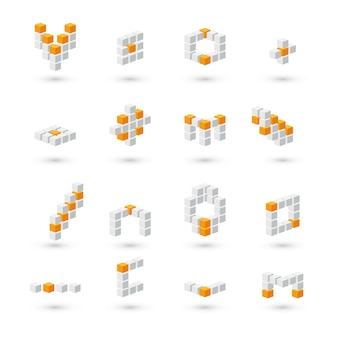 Set of 3d gray and orange cubes on white background