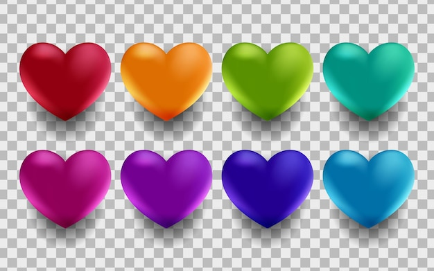 Set di cuori 3d in diversi colori. elementi decorativi per sfondi festivi, auguri, inviti, matrimoni, biglietti di san valentino o poster, striscioni, volantini. illustrazione vettoriale.